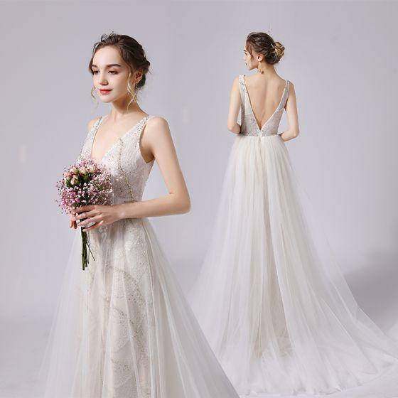 Modern / Fashion Ivory Wedding Dresses 2021 A-Line / Princess Beading Pearl Sequins Lace Flower Deep V-Neck Sleeveless Backless Sweep Train Wedding