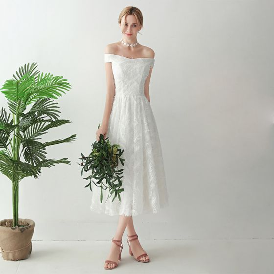Amazing / Unique White Tea-length Evening Dresses  2018 A-Line / Princess Tulle Braid Ankle Strap Strapless Evening Party Formal Dresses