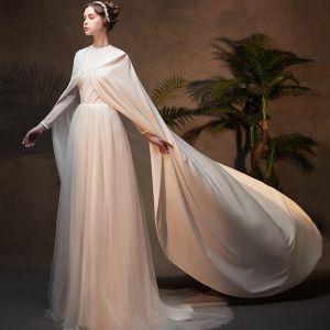 Unique Muslimisches Ivory / Creme Brautkleider / Hochzeitskleider Mit Umhang 2019 A Linie Stehkragen Lange Ärmel Rückenfreies Hof-Schleppe Rüschen