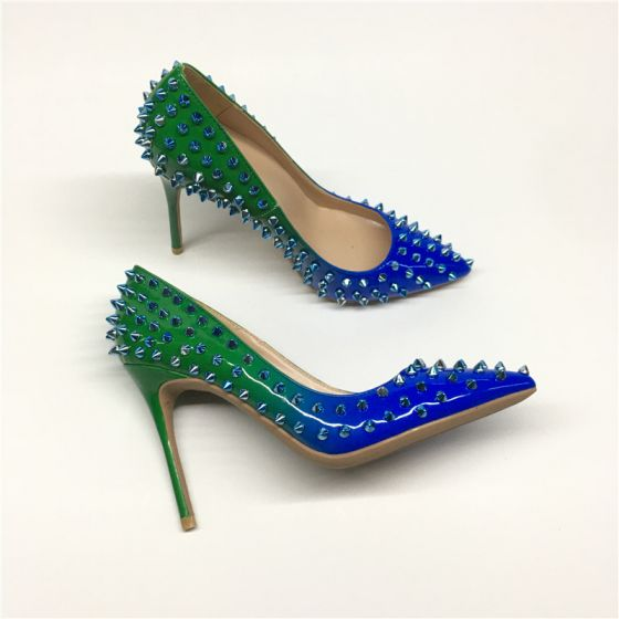 Chic / Beautiful Dark Green Royal Blue Evening Party Pumps 2020 Rivet 10 cm Stiletto Heels Pointed Toe Pumps