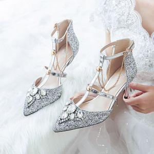 Glitter Zilveren Bruidsschoenen 2019 T-Strap Rhinestone Pailletten 8 cm Naaldhakken / Stiletto Spitse Neus Huwelijk Hoge Hakken