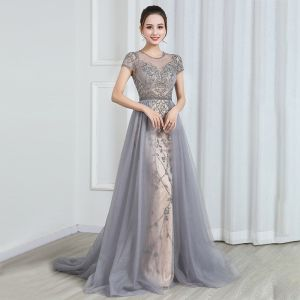 High-end Champagne Grey See-through Evening Dresses  2020 A-Line / Princess Scoop Neck Short Sleeve Beading Sweep Train Ruffle Formal Dresses