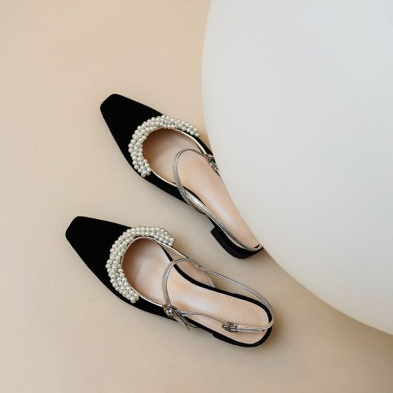 Elegant Black Dating Leather Womens Shoes 2020 Pearl Ankle Strap 7 cm Thick Heels Pointed Toe Heels