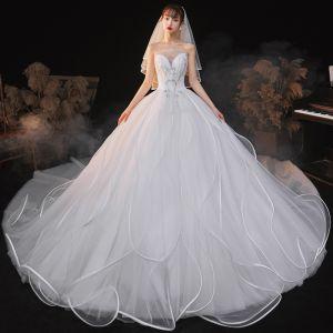 Uroczy Białe Suknie Ślubne 2020 Suknia Balowa Bez Ramiączek Cekiny Bez Rękawów Bez Pleców Trenem Królewski