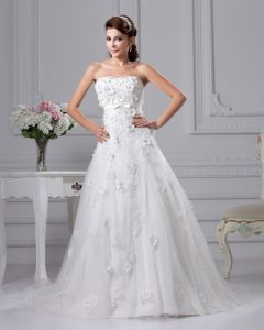 Fashion Satin Lace Strapless Court Bridal Ball Gown Wedding Dress