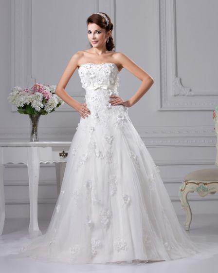 Fashion Satin Lace Strapless Court Bridal Ball Gown Wedding Dress
