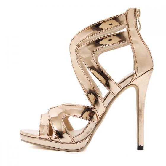 Sexy Gold Evening Party Womens Sandals 2020 12 cm Stiletto Heels Open / Peep Toe Sandals