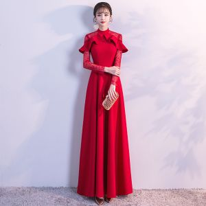 Chic / Beautiful Red Evening Dresses  2018 Empire Lace Flower High Neck Long Sleeve Floor-Length / Long Formal Dresses