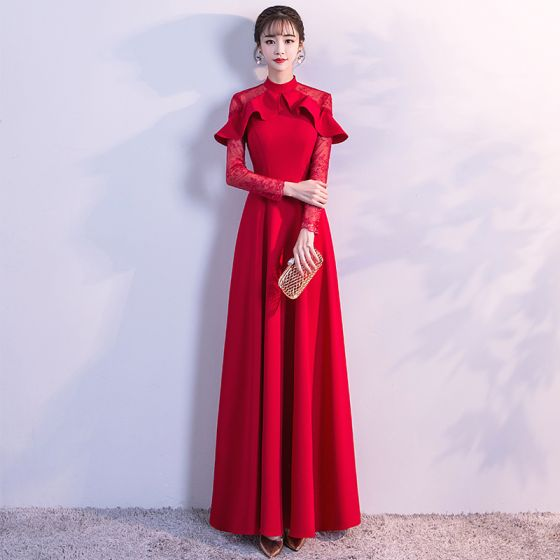 Chic / Beautiful Red Evening Dresses 2018 Empire Lace Flower High ...