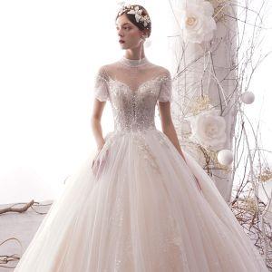 Luxe Ivoire Transparentes Robe De Mariée 2019 Princesse Col Haut Gonflée Manches Courtes Dos Nu Paillettes Perlage Glitter Tulle Longue Volants