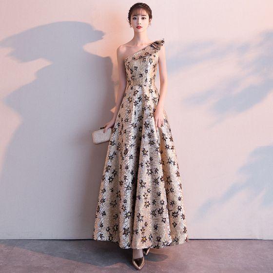 Classy Gold Evening Dresses  2019 A-Line / Princess One-Shoulder Lace Flower Sleeveless Backless Floor-Length / Long Formal Dresses