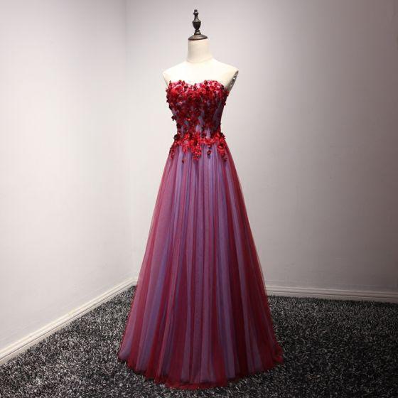 Piękne Sukienki Wizytowe 2017 Sukienki Wieczorowe Czerwone Princessa Długie Kochanie Bez Rękawów Bez Pleców Z Koronki Aplikacje Frezowanie Rhinestone