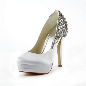 Classiques Blancs Escarpins Plate-forme De Haut Talon Chaussures De Mariée Strass