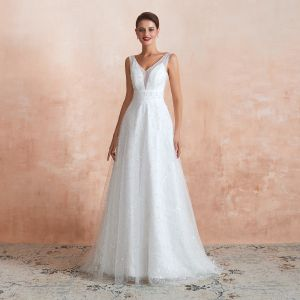 High-end Light Ivory Outdoor / Garden Wedding Dresses 2020 A-Line / Princess V-Neck Sleeveless Backless Beading Pearl Embroidered Lace Sweep Train Ruffle
