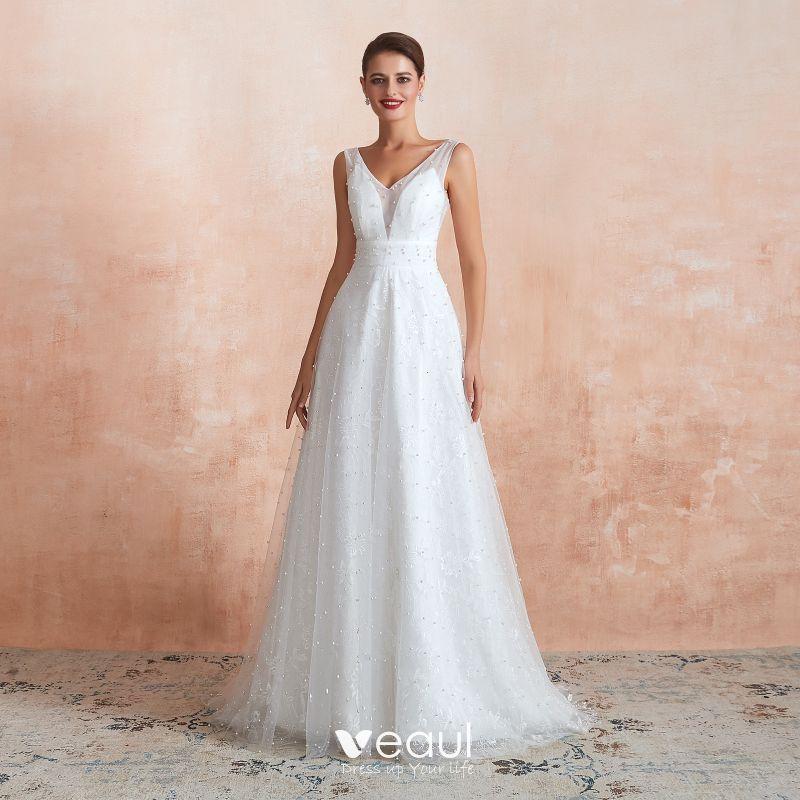 High End Light Ivory Outdoor Garden Wedding Dresses 2020 A Line