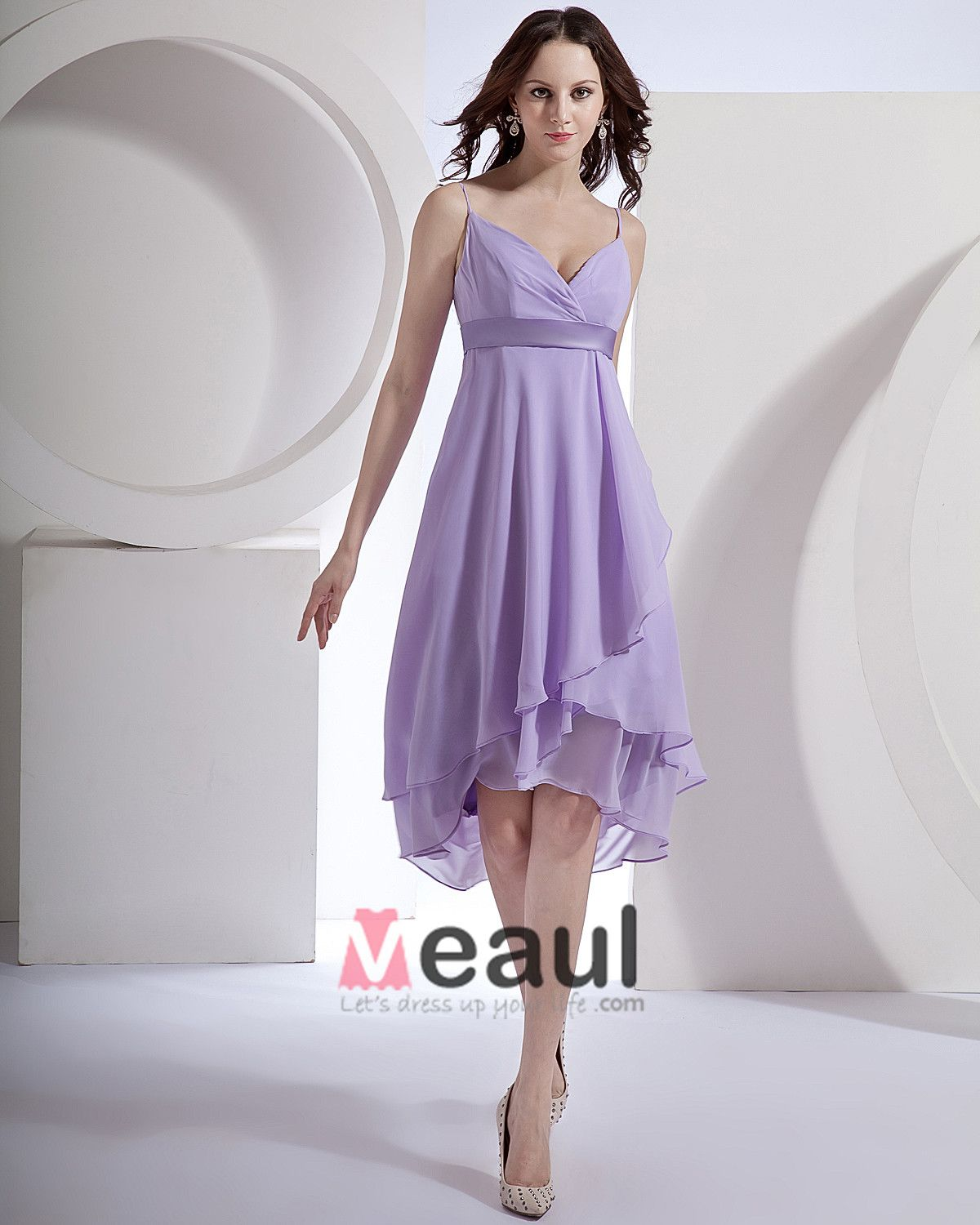 Chiffon Spaghetti Straps Tea Length Bridesmaid Dress Gown