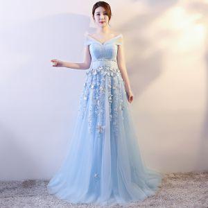Elegant Sky Blue Evening Dresses  2018 Empire Butterfly Appliques Bow Sash V-Neck Sleeveless Floor-Length / Long Formal Dresses