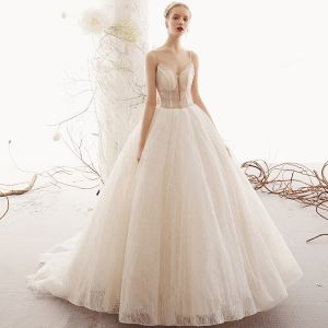 Bling Bling Champagne Wedding Dresses 2019 A-Line / Princess Spaghetti Straps Sleeveless Backless Beading Glitter Tulle Court Train Ruffle