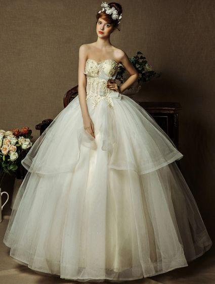 Borrat Älskling Beading Applikationer Spets Tjeckiska Borrning Organza Bröllopsklänningar