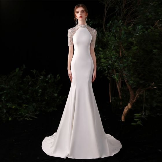 Style Chinois Blanche Satin Robe De Soirée 2020 Trompette / Sirène Transparentes Col Haut Manches Courtes Perlage Faux Diamant Train De Balayage Robe De Ceremonie