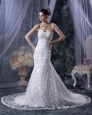 Satin Lace Applique Ruffles Sweetheart Cathedral Train Mermaid Wedding Dresses