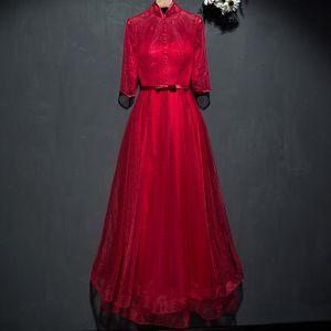 Piękne Czerwone Sukienki Wizytowe 2017 Z Koronki Kwiat Kokarda Długość Kostki 3/4 Rękawy Princessa Sukienki Wieczorowe