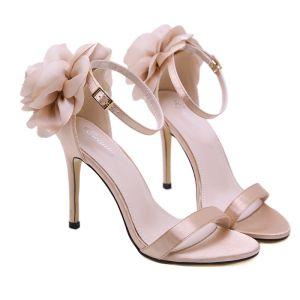 Abordable Beige Désinvolte Sandales Femme 2020 Appliques Bride Cheville 11 cm Talons Aiguilles Peep Toes / Bout Ouvert Sandales