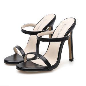 Minimaliste Noire Soirée Sandales Femme 2020 12 cm Talons Aiguilles Peep Toes / Bout Ouvert Sandales