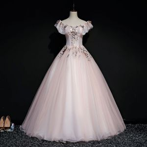 Elegant Pearl Pink Prom Dresses 2019 Ball Gown Square Neckline Short Sleeve Appliques Lace Pearl Floor-Length / Long Ruffle Backless Formal Dresses