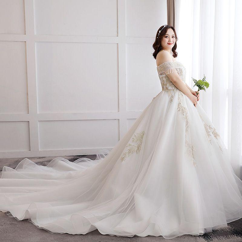 Glamour Blanche Mariage Appliques Dos Nu Perlage Brodé Dentelle Tulle Bustier Robe Boule Chapel Train Grande Taille Robe De Mariée 2019
