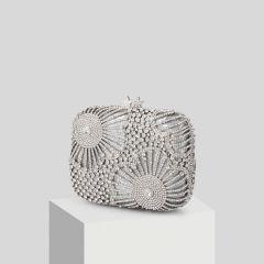 Pochette Argenté Faux Diamant Métal Soirée Scintillantes 2019