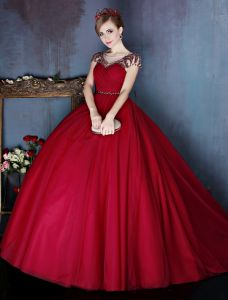 Elegant Scoop Beading Neckline Pleated Burgundy Tulle Prom Dress With Beading Sash