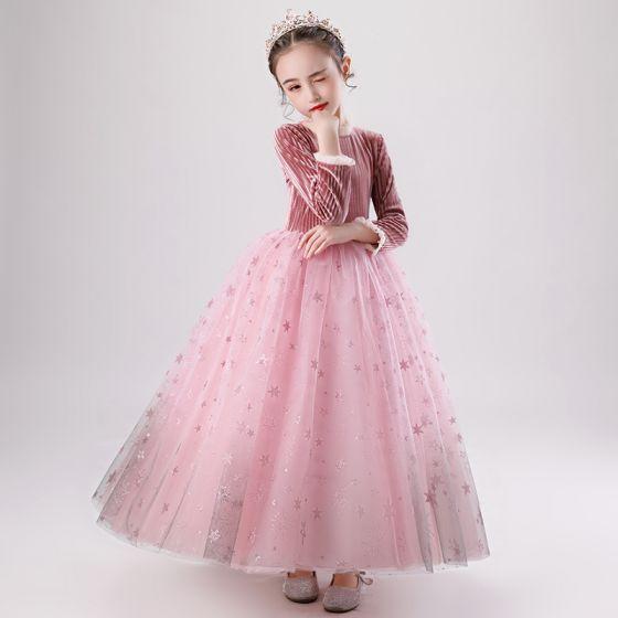 Charmant Pink Wildleder Winter Blumenmädchenkleider 2020 Ballkleid Rundhalsausschnitt Lange Ärmel Glanz Star Lange Rüschen