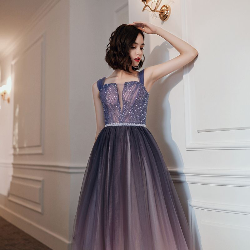 Elegant Purple Gradient-Color Evening Dresses  2020 A-Line / Princess Shoulders Sleeveless Rhinestone Beading Sash Floor-Length / Long Ruffle Backless Formal Dresses