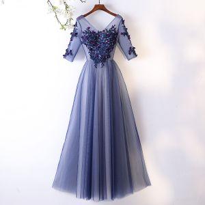 Piękne Ciemnoniebieski Sukienki Wieczorowe 2017 Princessa Z Koronki Kwiat Aplikacje Kryształ V-Szyja Bez Pleców 1/2 Rękawy Długość Kostki Sukienki Wizytowe