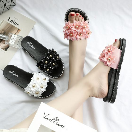 Affordable Blushing Pink Casual Beach Slipper & Flip flops 2020 Flower Pearl Sequins Open / Peep Toe Flat Womens Shoes