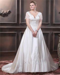 Schatz Kurz Ärmel Sweep Satin Stickerei Größe Hochzeitskleid