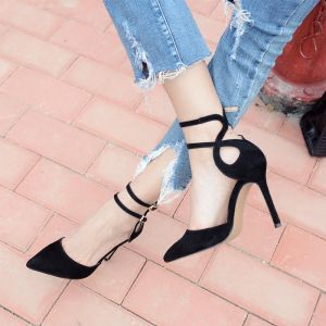 Chic / Beautiful 2017 Red Yellow Black Evening Party Leatherette Summer Suede High Heels Heels Pumps