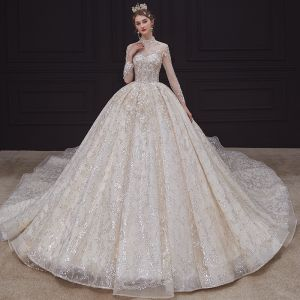 Luxury / Gorgeous Champagne Bridal Wedding Dresses 2020 Ball Gown See-through High Neck 3/4 Sleeve Backless Appliques Lace Sequins Beading Royal Train Ruffle