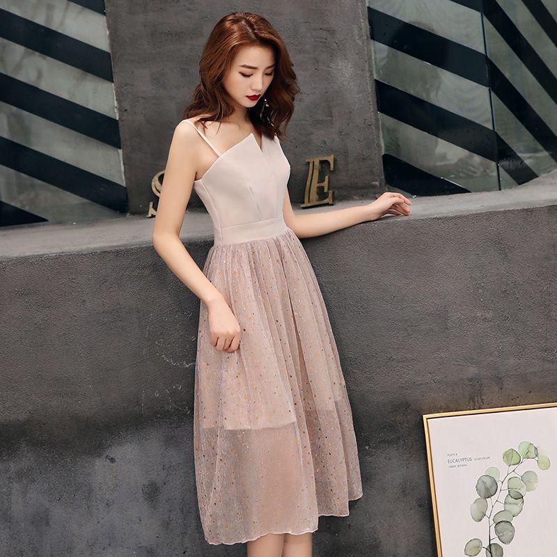 Chic / Beautiful Homecoming Graduation Dresses 2019 A-Line / Princess Star Sequins Sleeveless Backless Tea-length Formal Dresses