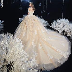 Piękne Szampan ślubna Suknie Ślubne 2020 Suknia Balowa Przy Ramieniu Kótkie Rękawy Bez Pleców Kwiat Aplikacje Z Koronki Frezowanie Cekinami Tiulowe Trenem Katedra Wzburzyć