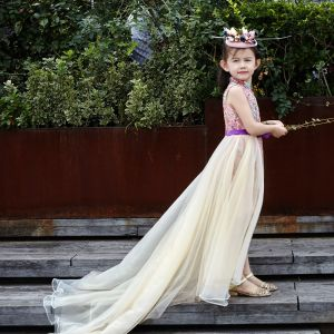 Chinese style Church Wedding Party Dresses 2017 Flower Girl Dresses Candy Pink Champagne A-Line / Princess Cathedral Train Satin Sash High Neck Sleeveless Lace Appliques