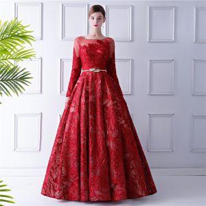 Elegante Rot Ballkleider 2019 A Linie Durchsichtige Rundhalsausschnitt Lange Ärmel Schleife Stoffgürtel Glanz Spitze Lange Rüschen Rückenfreies Festliche Kleider