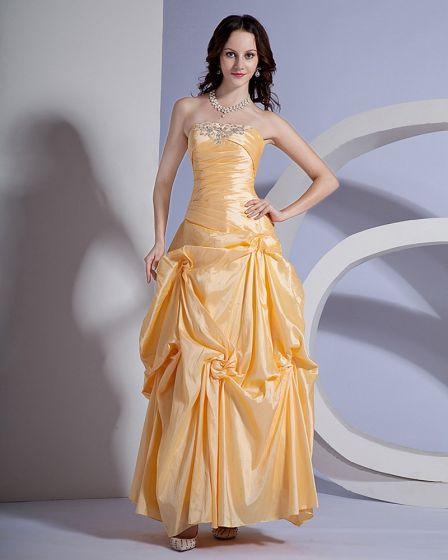 Sweetheart Ball Gown Beaded Taffeta Designer Prom Dresses