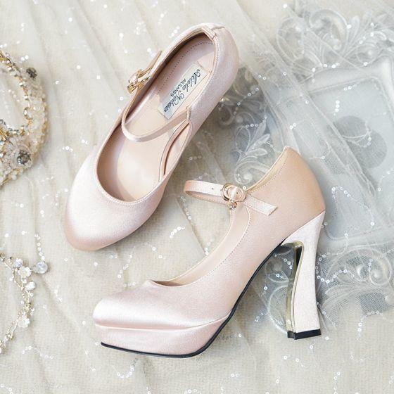 Vintage / Retro Champagne Wedding Shoes 2019 Buckle 11 cm Stiletto Heels Round Toe Wedding Pumps