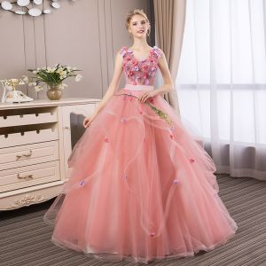 Affordable Candy Pink Prom Dresses 2018 Ball Gown Lace Flower Appliques Pearl Rhinestone Cascading Ruffles V-Neck Backless Sleeveless Floor-Length / Long Formal Dresses