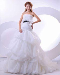 Yarn Satin Sleeveless Sweetheart Cathedral Train Mermaid Wedding Dresses