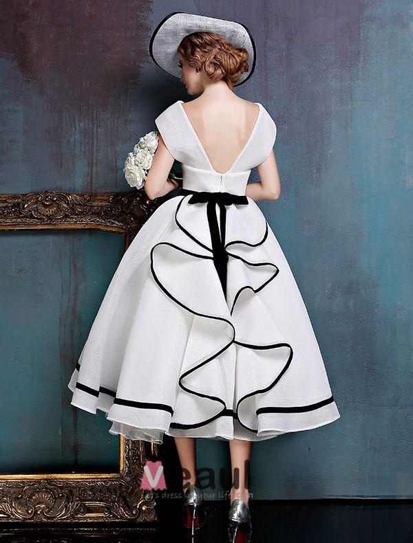 Vintage Eenvoudige Witte Galajurken V-hals Backless Feestjurken Met Strik Sjerp