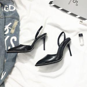 Moderne / Mode Noire Bureau Chaussures Femmes 2018 Rivet 9 cm Talons Aiguilles À Bout Pointu Talons Hauts