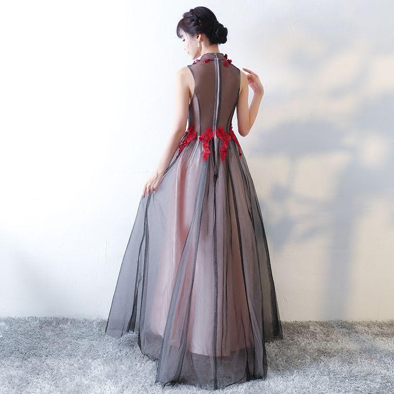 Élégant Noire Robe De Bal 2017 Princesse Col Haut Sans Manches Bustier Appliques Fleur Cristal Longue Volants Percé Robe De Ceremonie